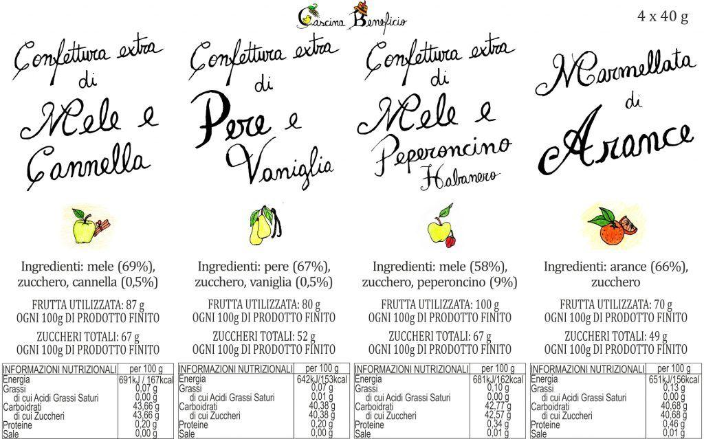 Scatola 4 marmellate etichetta